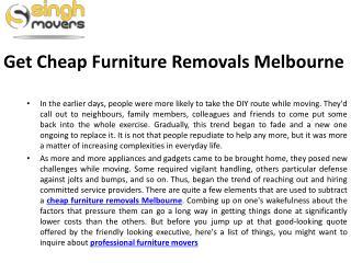 Get Cheap Furniture Removals Melbourne