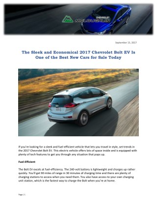 The Sleek and Economical 2017 Chevrolet Bolt EV Is One of the Best New Cars for Sale Today