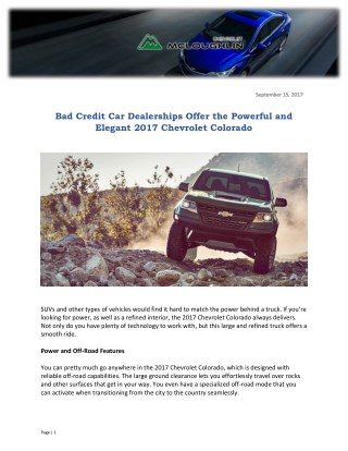 Bad Credit Car Dealerships Offer the Powerful and Elegant 2017 Chevrolet Colorado