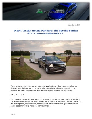 Diesel Trucks around Portland: The Special Edition 2017 Chevrolet Silverado Z71