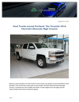 Used Trucks around Portland: The Versatile 2016 Chevrolet Silverado High Country
