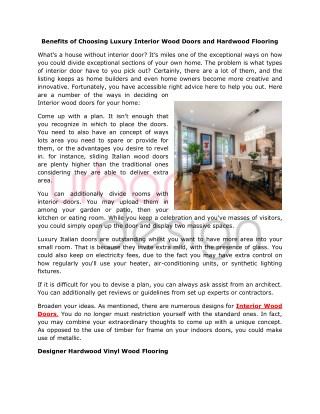 Benefits of Luxury Interior Wood Doors and Flooring