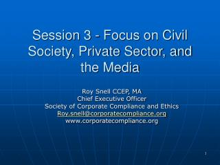 Session 3 - Focus on Civil Society, Private Sector, and the Media