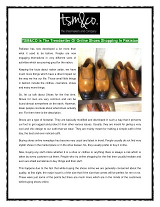 TSM&CO Is The Trendsetter Of Online Shoes Shopping In Pakistan