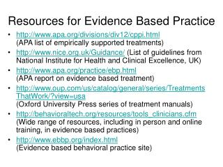 Resources for Evidence Based Practice