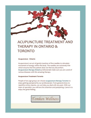 Acupuncture Treatment And Therapy