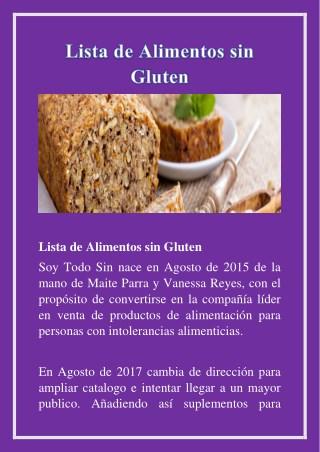 lista de alimentos sin gluten