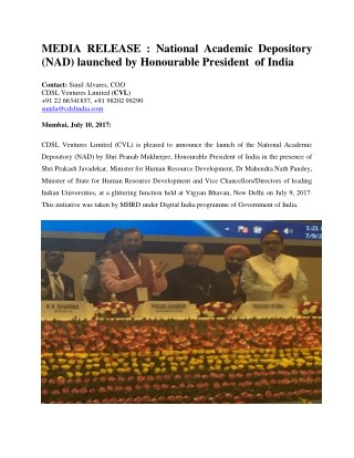 National Academic Depository (NAD) launched by Honourable President of India