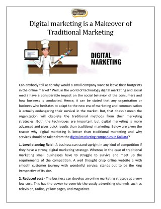 Digital Marketing is a Makeover of Traditional Marketing