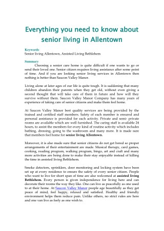 Everything you need to know about senior living in Allentown