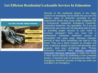 Residential locksmith edmonton
