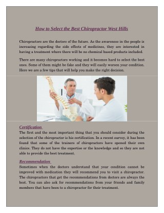 How to Select the Best Chiropractor West Hills