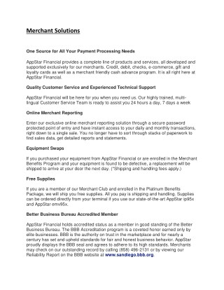 Appstar Financial - Merchant Solutions