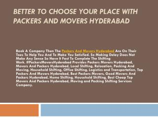 Better To Choose Your Place With Packers And Movers Hyderabad