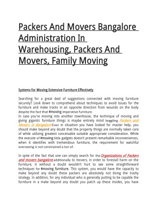 Packers And Movers Bangalore Administration In Warehousing