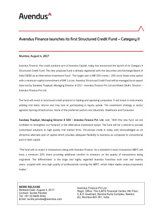Avendus Finance launches its first Structured Credit Fund