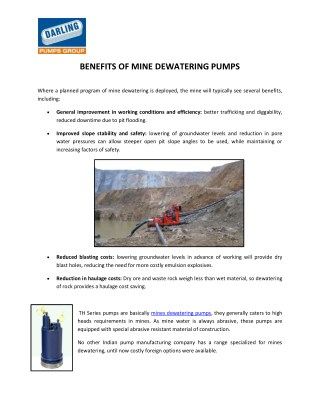 TH Series Mines Dewatering Pumps