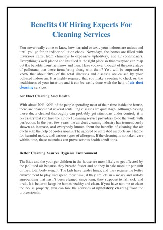Benefits Of Hiring Experts For Cleaning Services