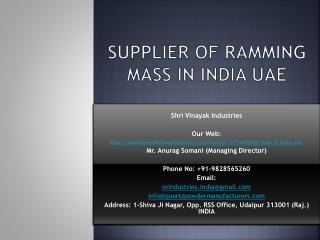 Supplier of Ramming mass in India UAE