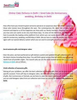 Online Cake Delivery in Delhi | Send Cake for Anniversary, Wedding, Birthday in Delhi
