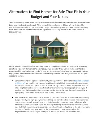 Alternatives to Find Homes for Sale That Fit in Your Budget and Your Needs