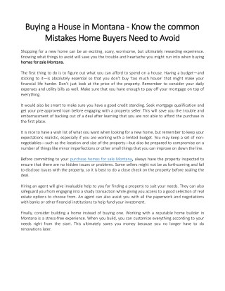 Buying a House in Montana - Know the common Mistakes Home Buyers Need to Avoid
