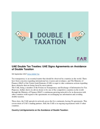 UAE Double Tax Treaties & Agreements to Avoid Double Taxation
