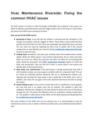 Hvac Maintenance Riverside: Fixing the common HVAC issues