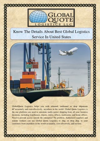 Know The Details About Best Global Logistics Service In United States
