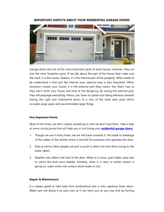 IMPORTANT ASPECTS ABOUT YOUR RESIDENTIAL GARAGE DOORS