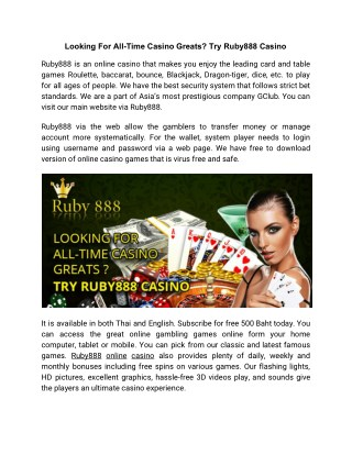 Looking For All-Time Casino Greats? Try Ruby888 Casino