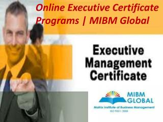 Online Executive Certificate Programs