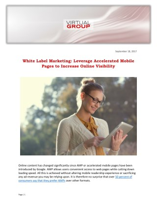 White Label Marketing: Leverage Accelerated Mobile Pages to Increase Online Visibility