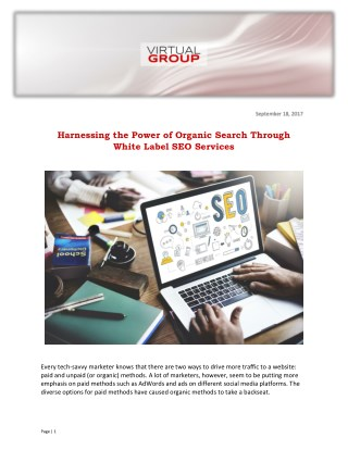 Harnessing the Power of Organic Search Through White Label SEO Services