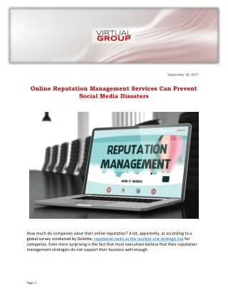 Online Reputation Management Services Can Prevent Social Media Disasters