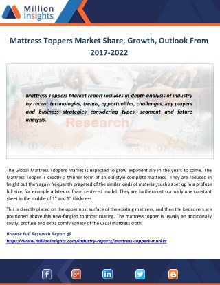 Mattress Toppers Market Trends, Analysis, Growth, Industry Outlook and Overview By Million Insights
