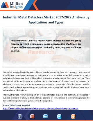 Industrial Metal Detectors Industry Analysis, Size, Growth, Trends and Forecast 2017-2022