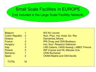 Small Scale Facilities in EUROPE not included in the Large Scale Facilitity Network
