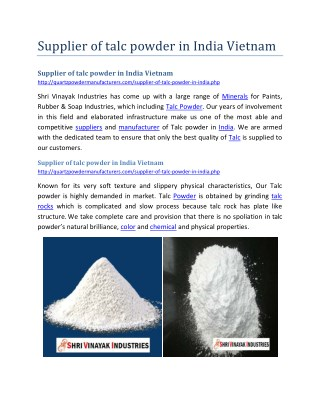 Supplier of talc powder in India Vietnam