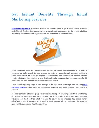 Best E-data and Email Marketing Services Providers