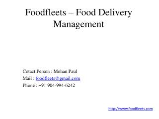 Foodfleets - Food Delivery Management