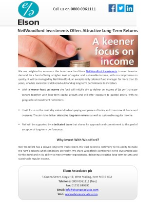 NeilWoodford Investments Offers Attractive Long-Term Returns