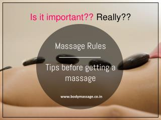 Massage Rules - Tips before getting a massage