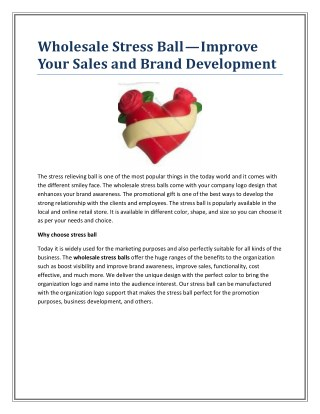 Wholesale Stress Ball—Improve Your Sales and Brand Development