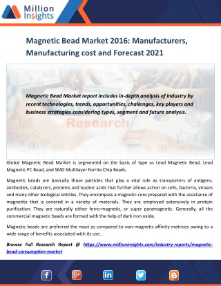 Magnetic Bead Market Growth Factors and Business Strategy Forecast by 2016 - 2021