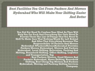 Best Facilities You Get From Packers And Movers Hyderabad Who Will Make Your Shifting Easier And Better