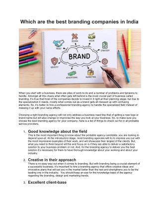 Which are the best branding companies in India