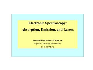 Electronic Spectroscopy: Absorption, Emission, and Lasers Assorted Figures from Chapter 17, Physical Chemistry, Sixth Ed