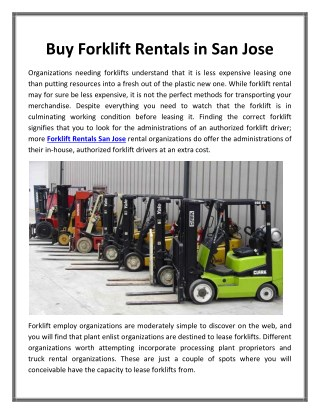 Buy Forklift Rentals in San Jose