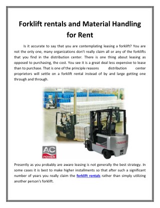 Forklift rentals and Material Handling for Rent